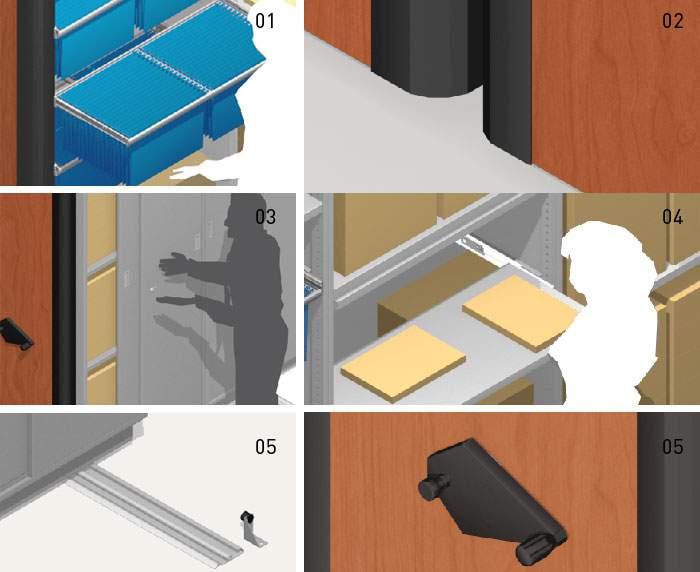 accesorios para estanterías deslizantes
